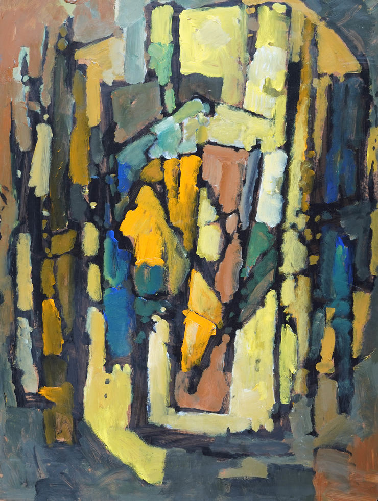 Abstract 1985 Blue Yellow by Frank Avray Wilson at Richard Taylor Fine Art