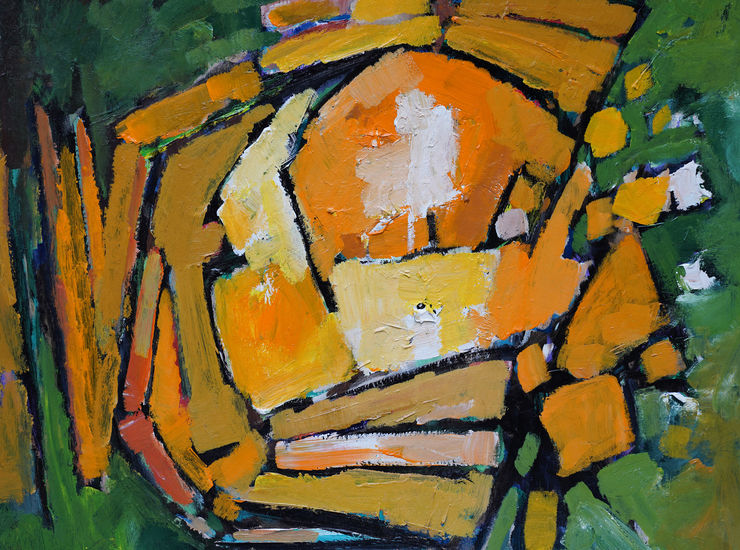 Abstract 1983 Green Yellow by Frank Avray Wilson at Richard Taylor Fine Art