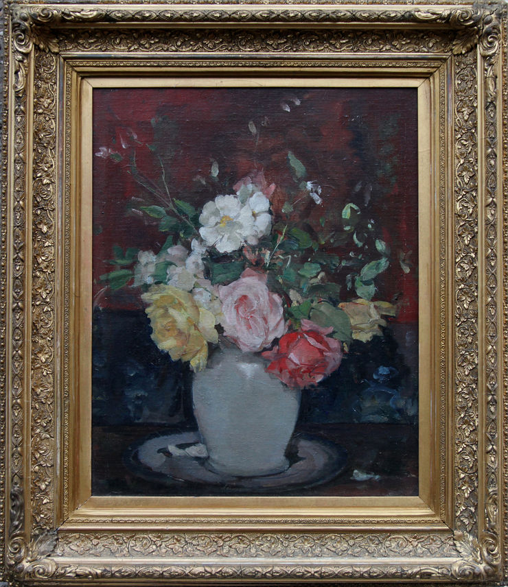 Arrangement of Roses Floral Still Life oil by Alice Mary Burton at Richard Taylor Fine Art