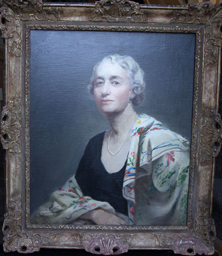 Mrs Willis Exhibited oil portrait by Alice Mary Burton at Richard Taylor Fine Art