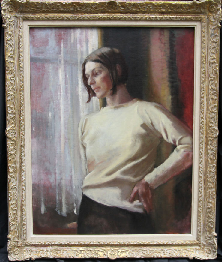 Contemplation British female oil portrait by Alice Mary Burton at Richard Taylor Fine Art