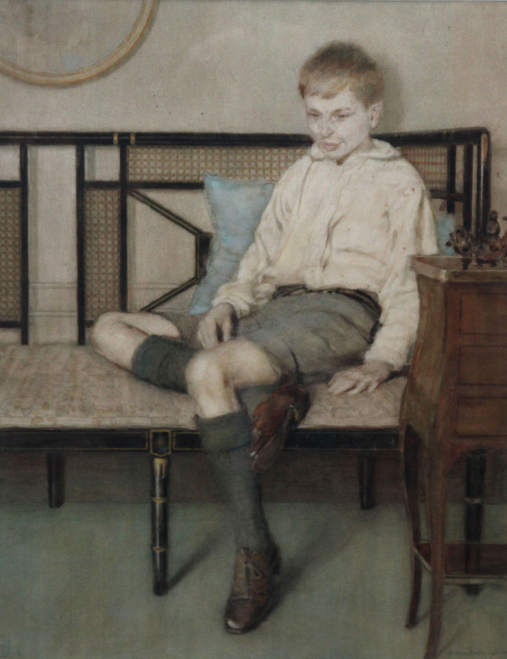 Art Deco Portrait of a Boy by Anna Airy Richard Taylor Fine Art