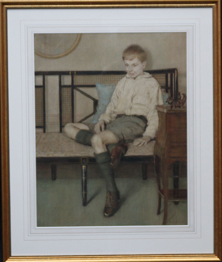 Art Deco Portrait of a Boy by Anna Airy at Richard Taylor Fine Art