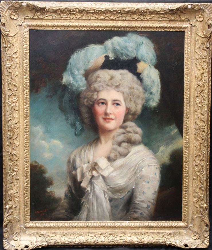 Edwardian Portrait of a Lady in a Hat by Anthony de Brie at Richard Taylor Fine Art
