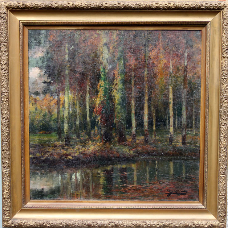 Spanish Impressionist Wooded Landscape by Antonio Ross Y Guell at Richard Taylor Fine Art