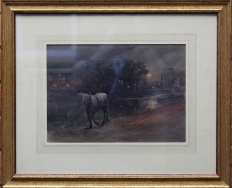 Victorian Watercolour Canal Nocturne by Arthur Hopkins at Richard Taylor Fine Art