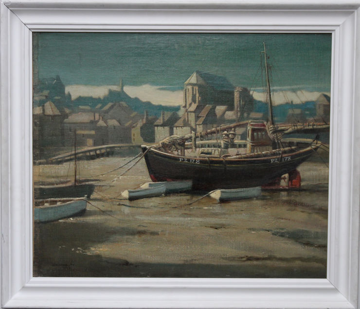 St Ives Harbour Marine painting by Arthur Royce Bradbury at Richard Taylor Fine Art