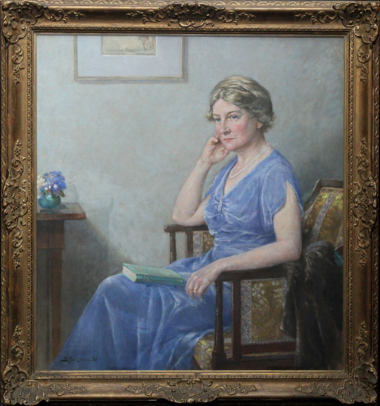 Portrait of Mrs Lindsay Scott by Bertram Priestman at Richard Taylor Fine Art