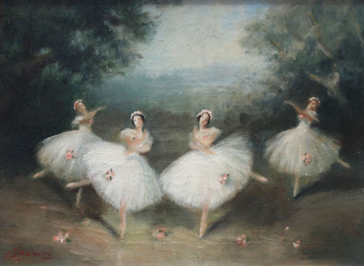 British Ballet oil painting by Carlotta Edwards Richard Taylor Fine Art