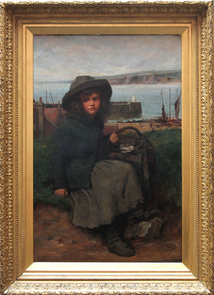Fisher Girl Victorian portrait genre Scottish marine oil by Charles Andrew Sellar at  Richard Taylor Fine Art