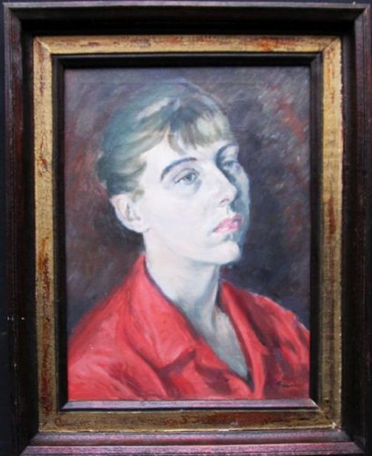 Portrait of Lady in Red by Christopher Sanders at Richard Taylor Fine Art