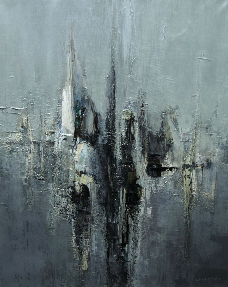Sails Grey Sea Abstract seascape by Claude Garanjoud Richard Taylor Fine Art
