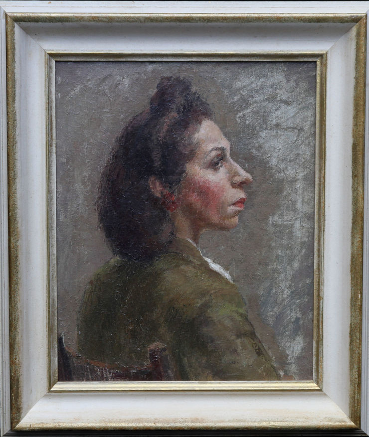 Portrait of a Lady in Green by Constance Anne Parker at Richard Taylor Fine Art