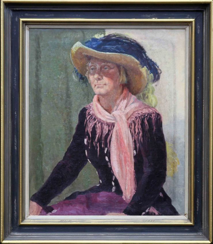 Portrait of a Lady in a Hat by Constance Anne Parker at Richard Taylor Fine Art