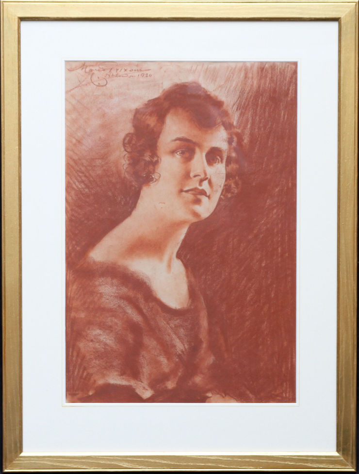 Roaring Twenties Chalk Portrait of a Lady by Count Mario Grixoni at Richard Taylor Fine Art