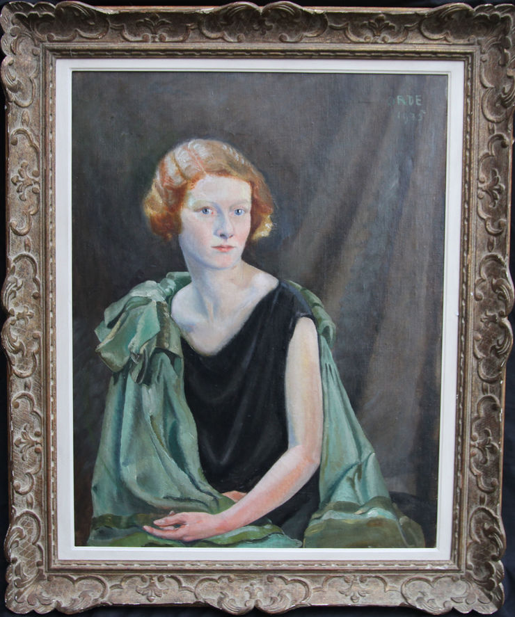Art Deco Woman in Black Portrait by Cuthbert Orde at Richard Taylor Fine Art