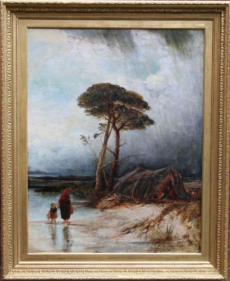 Rainy Landscape Victorian British Impressionist oil by David Cox at Richard Taylor Fine Art