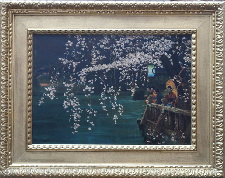 Cherry Blossom 20th century landscape oil painting by E B Powell at Richard Taylor Fine Art