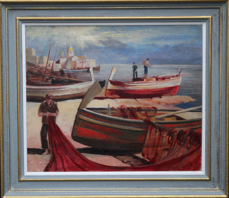 Edward Bouverie Hoyton - Beached Maltese Fishing Vessels. British marine oil painting. Visit Richard Taylor Fine Art for 19th and 20th century oil paintings.