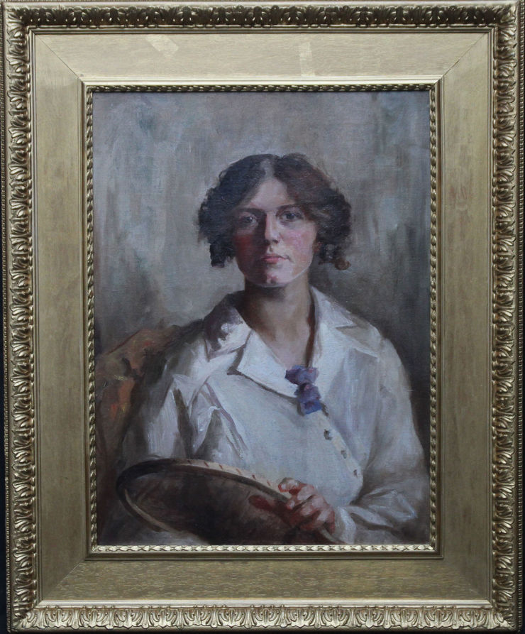 Edwardian Portrait of a Female Tennis Player by E Turner Hill at Richard Taylor Fine Art