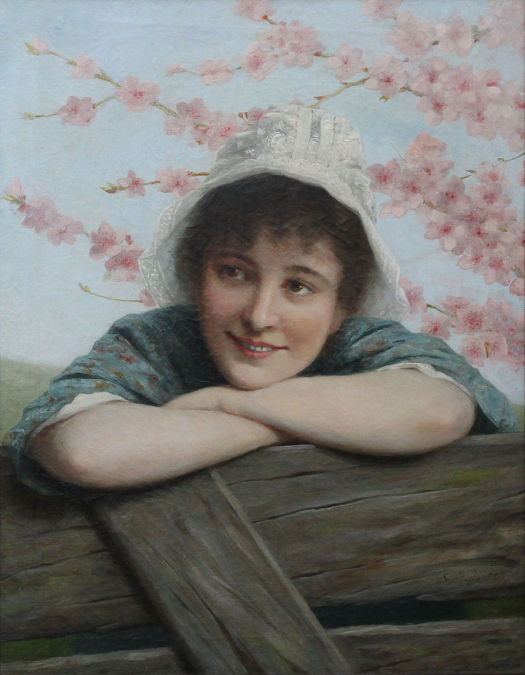 Girl under Blossom by Ernest Anders Richard Taylor Fine Art