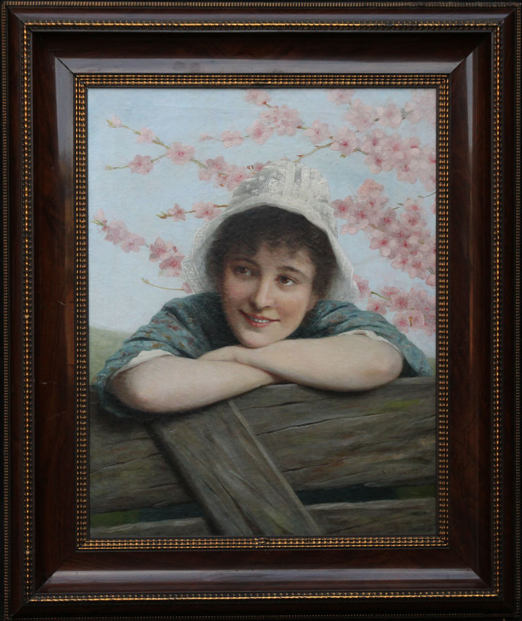 Portrait of Girl under Blossom by Ernest Anders at Richard Taylor Fine Art