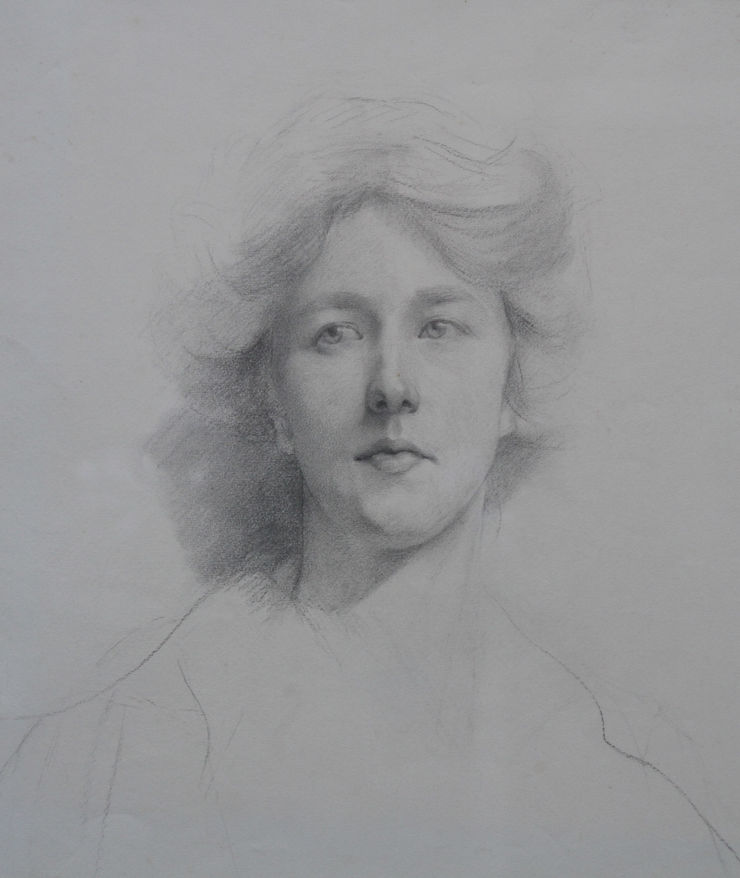 Edwardian Self Portrait by Estella Canziani Richard Taylor Fine Art