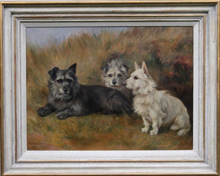 Portrait of dogs in landscape by Florence Jay at Richard Taylor Fine Art