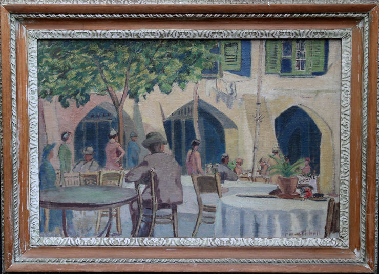 Cafe Porto Fino Italian Riviera by Forrest Hewit at Richard Taylor Fine Art