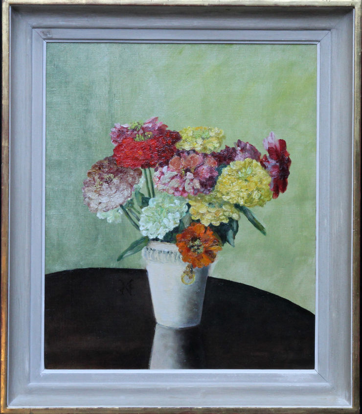 Floral Arrangement of Zinnias by Frances Evelyn North at Richard Taylor Fine Art