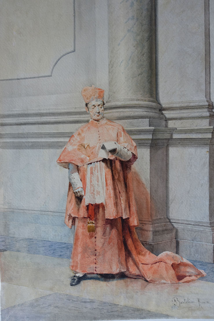 Catholic Cardinal Italian watercolour by Federico Bartolini Richard Taylor Fine Art
