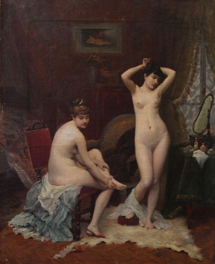 French School Nude Women in Boudoir Richard Taylor Fine Art