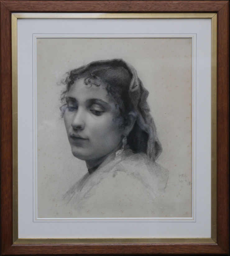 French Naturalistic Portrait of a Lady by French School at Richard Taylor Fine Art