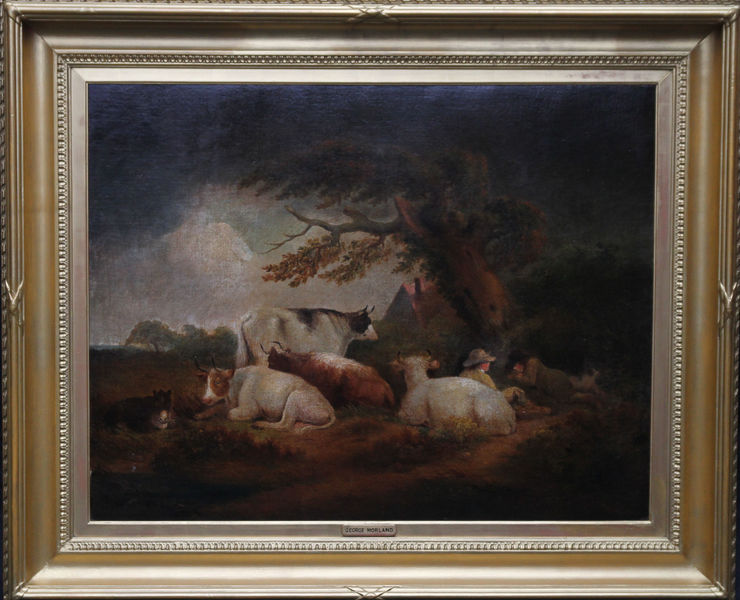 Cattle in a Landscape British Old Master by George Morland at Richard Taylor Fine Art