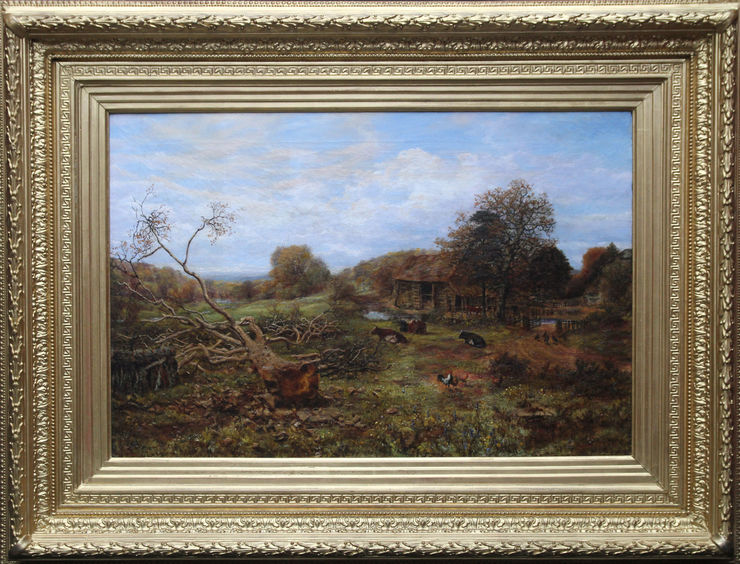 Victorian British Landscape with Cattle by George William Mote at Richard Taylor Fine Art