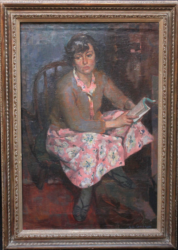 Portrait of a Young Woman in a Pink Dress Reading by Gordon Stewart Cameron at Richard Taylor Fine Art
