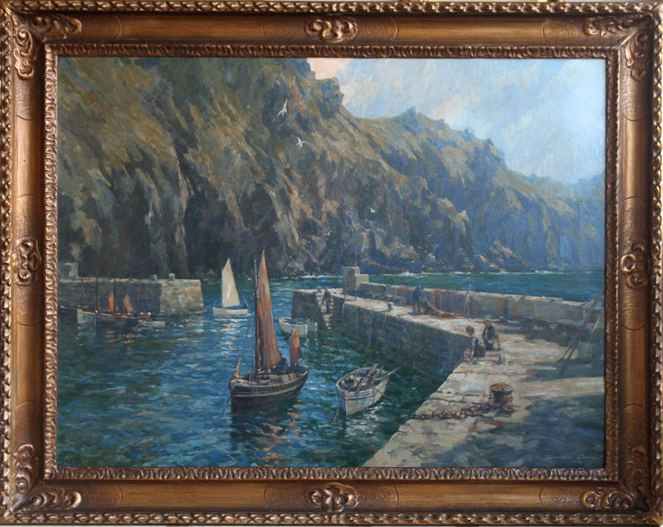 Mullion Cove Cornwall British seascape by Gordon Crosby at Richard Taylor Fine Art