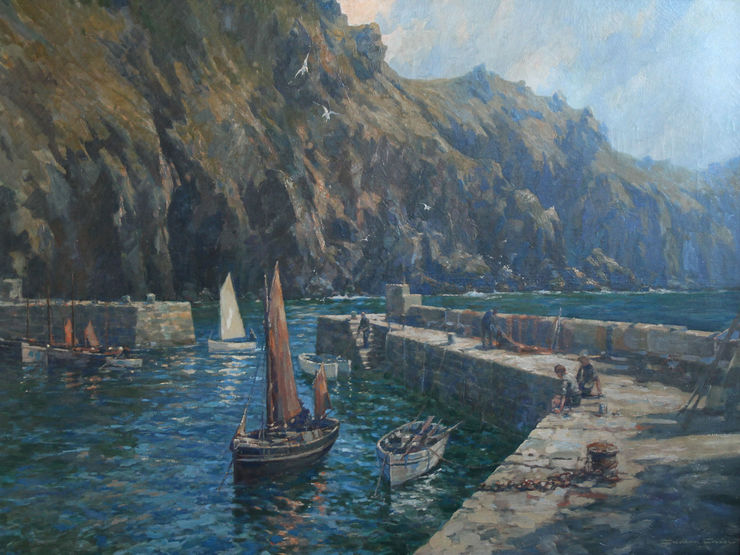 Mullion Cove Cornwall British marine by Gordon Crosby Richard Taylor Fine Art