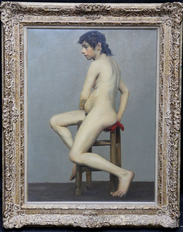 Nude The Artist's Model by Herbert Wilson Foster at Richard Taylor Fine Art