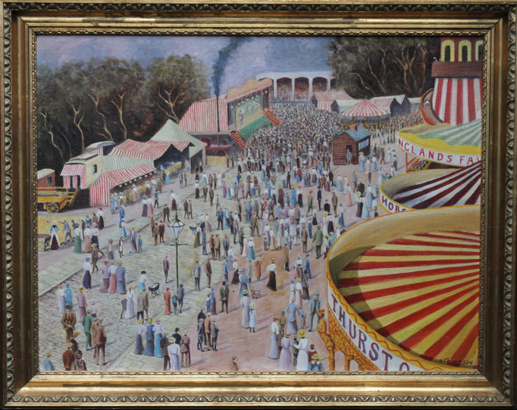 Post Impressionist Thurston's Fun Fair Cambridge by H Thompson at Richard Taylor Fine Art