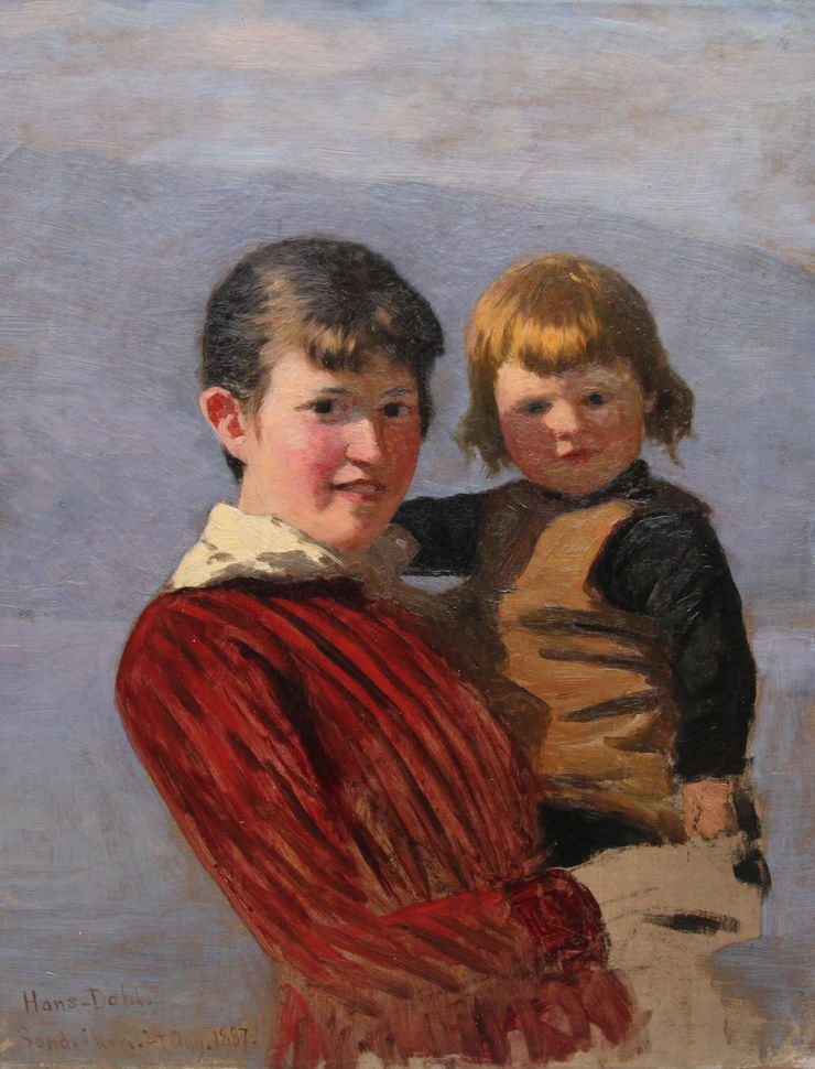 Victorian Portrait  of Sisters by Hans Dahl at Richard Taylor Fine Art