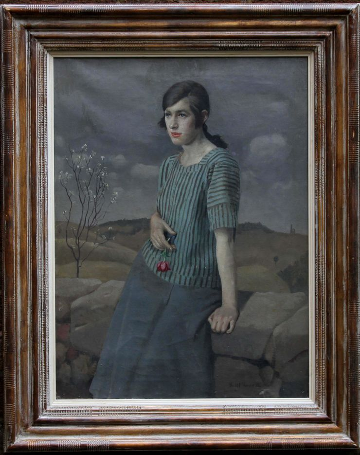 Portrait of Clara by Harold Harvey at Richard Taylor Fine Art