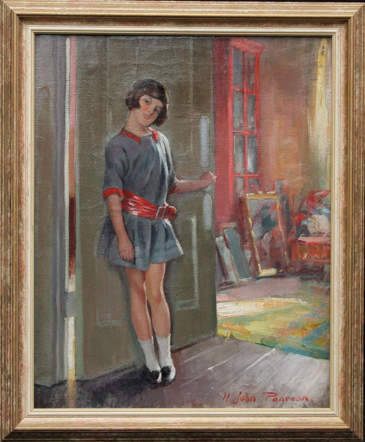 Art Deco Portrait of a Girl by Harry John Pearson at Richard Taylor Fine Art