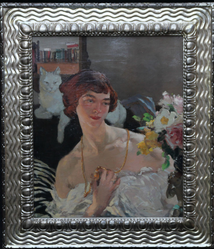 Art Deco Self Portrait with Cat by Helen MacKenzie at Richard Taylor Fine Art