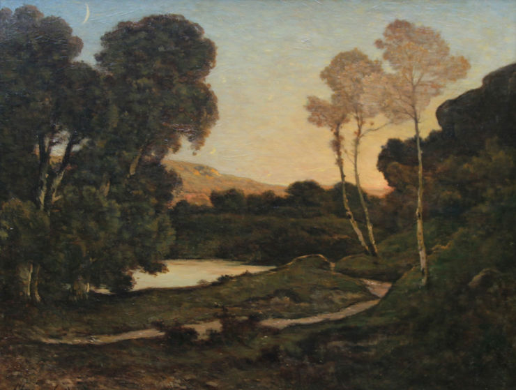 French Barbizon Sunset Landscape by Henri Joseph Harpignies Richard Taylor Fine Art