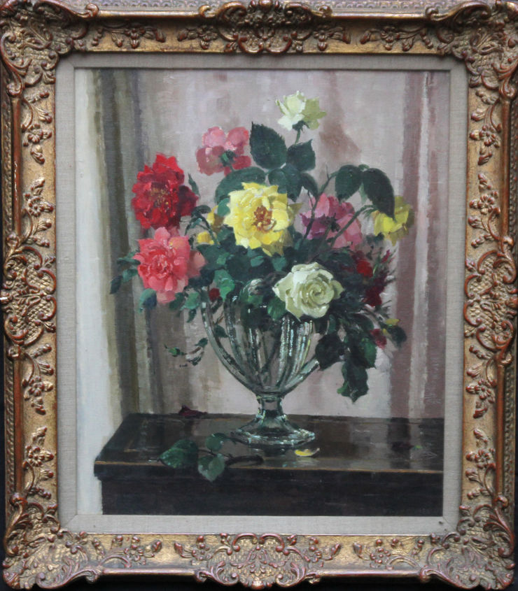 Roses Floral Oil Painting by Herbert David Richter at Richard Taylor Fine Art