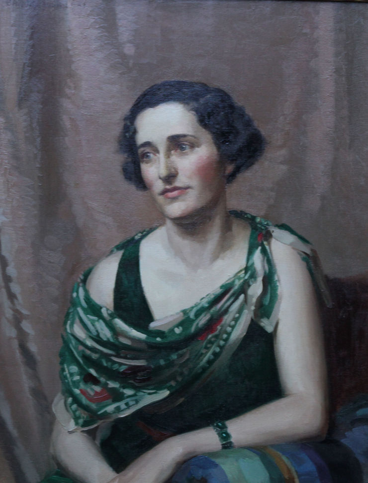 Pamela Abercromby Art Deco portrait by James P Barraclough Richard Taylor Fine Art