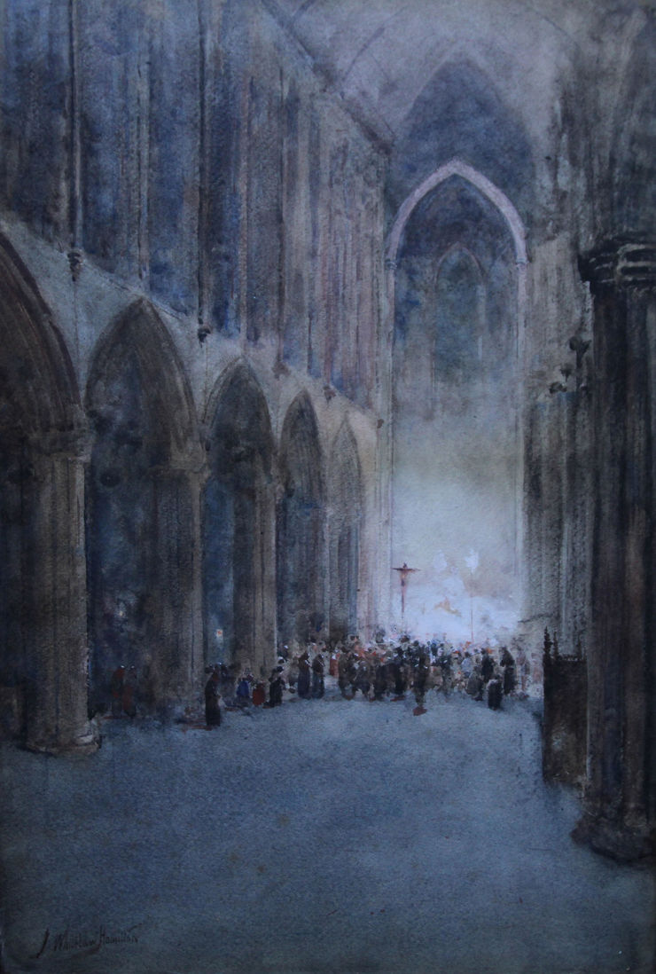 Glasgow Cathedral by watercolour artist James Whitelaw Hamilton Richard Taylor Fine Art