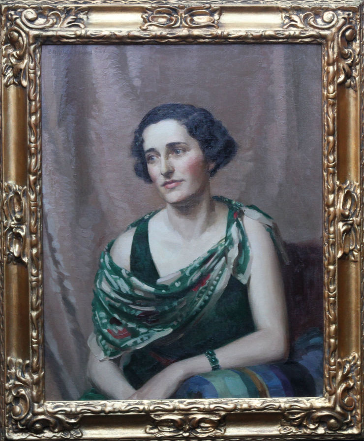 British 1930's Art Deco portrait by James P Barraclough at Richard Taylor Fine Art