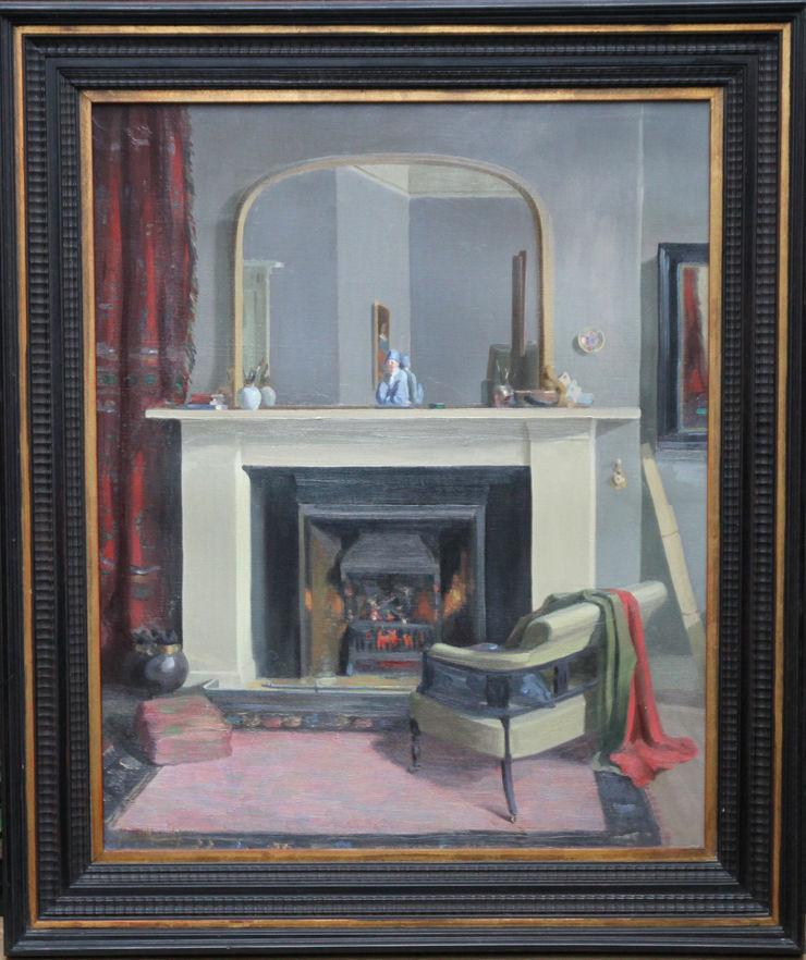 Exhibited Scottish Interior oil painting by John Davies kennedy Richard Taylor Fine Art